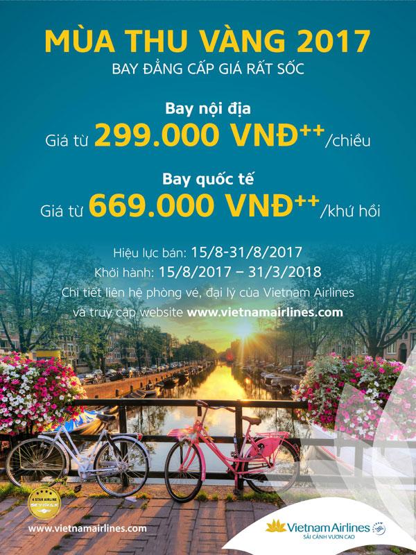 """Vietnam Airlines announces """"Golden Autumn 2017"""" program"""