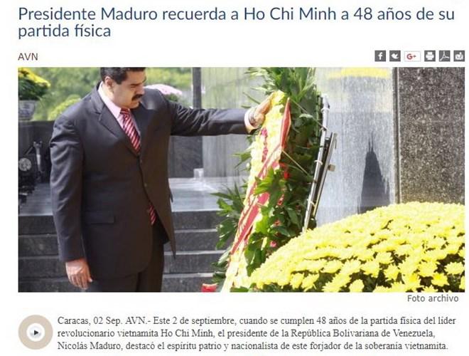 Venezuelan President Maduro praises President Ho Chi Minh