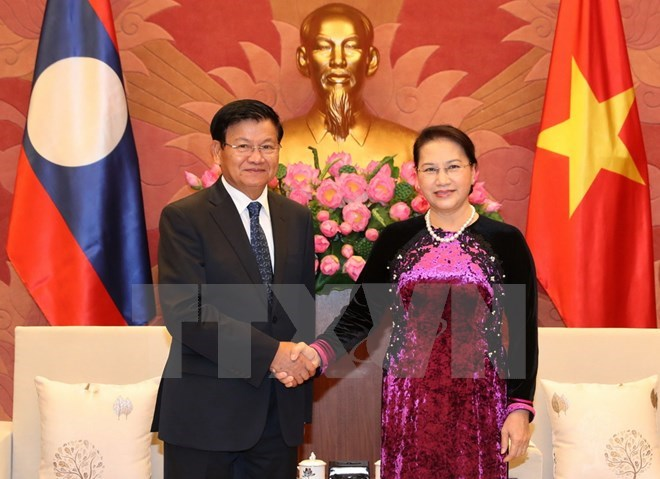 NA Chairwoman Nguyen Thi Kim Ngan welcomes Lao PM