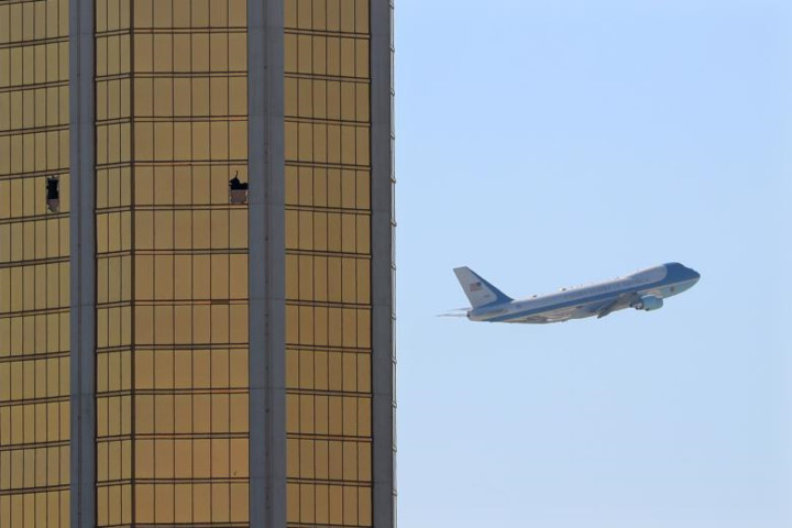 President Donald Trump arrives Las Vegas after shooting