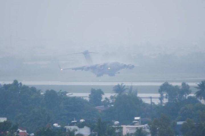 Close-up of special aircrafts landing in Da Nang