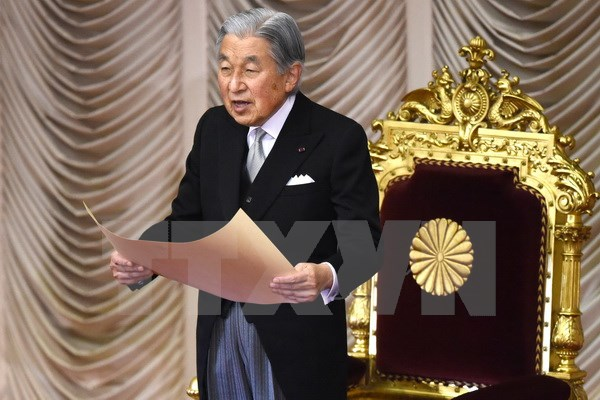 Japan's Emperor Akihito delivers New Year's greetings