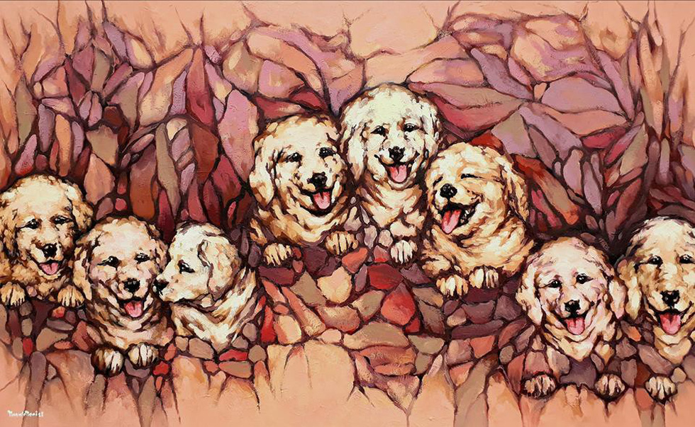 Vietnamese painters introduce dog paintings to welcome Lunar New Year of the Dog