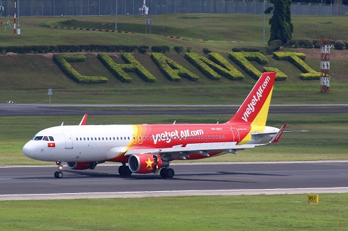 Vietjet Air operates international flights at Changi Airport Terminal 4