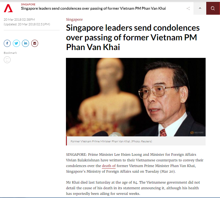 International press praises former Prime Minister Phan Van Khai
