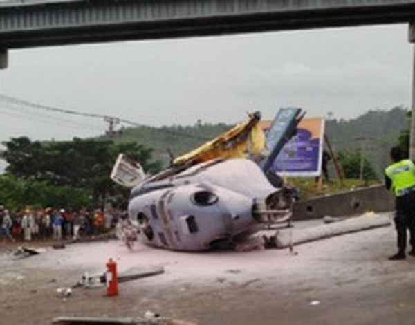 Helicopter crash in Indonesia kills one, injures nine others