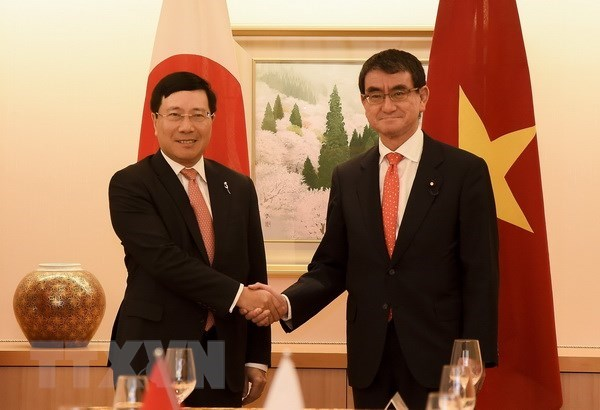 Vietnamese, Japanese FMs delighted at bilateral ties