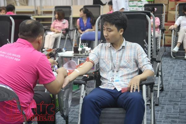 Workers donate blood