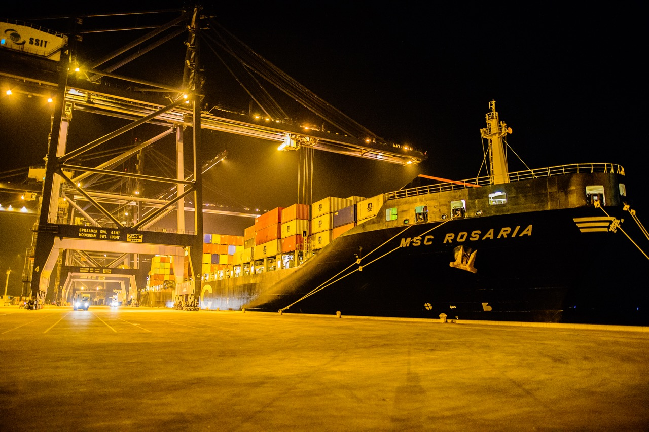 SSIT port receives 5,000 TEU container ship