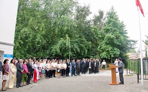 ASEAN flag hoisting ceremony at Vietnamese Embassy in Netherlands