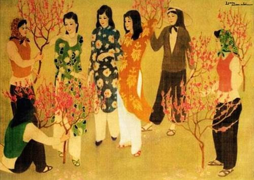 Paintings on the beauty of Vietnamese women