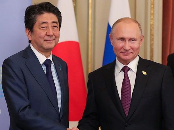 Japanese PM Shinzo Abe meets Russian President Vladimir Putin