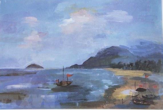 Vietnamese student's painting display in Japan