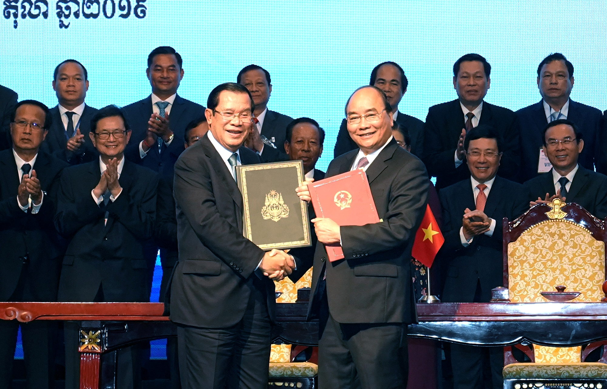 Vietnamese, Cambodian PMs chair conference reviewing border demarcation