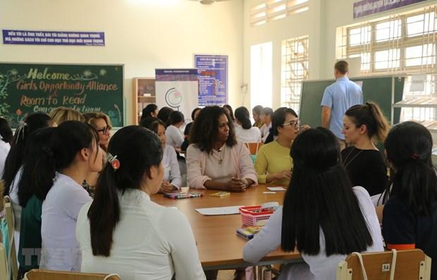 Former US First Lady Michelle Obama visits Mekong Delta school