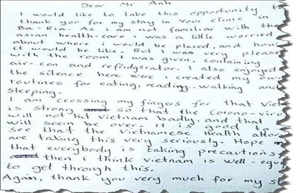 Norwegian's handwritten letter expresses thanks to Vietnamese health workers after time in isolation