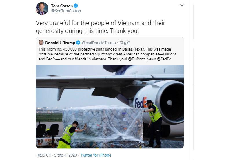 US senator thanks Vietnam for medical equipment support