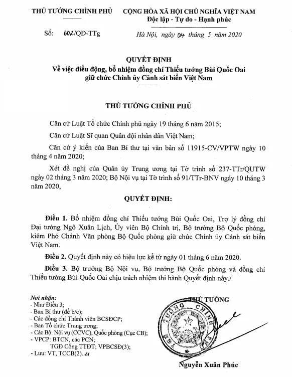 Vietnam Coast Guard has new political commissar