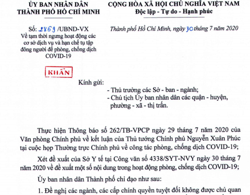 Non-essential services, gatherings in Ho Chi Minh City suspended from July 31st