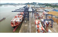 Ship of world's largest container shipping company docks at Cai Lan port