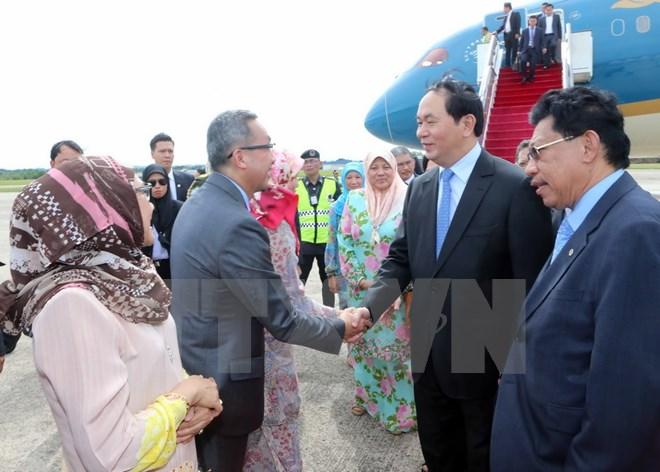Le président Tran Dai Quang entame sa visite au Brunei