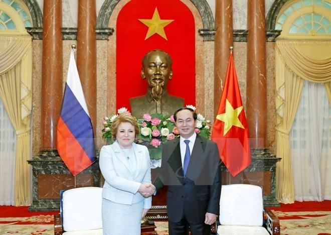 Le président Tran Dai Quang reçoit la présidente du Conseil de la Fédération de Russie