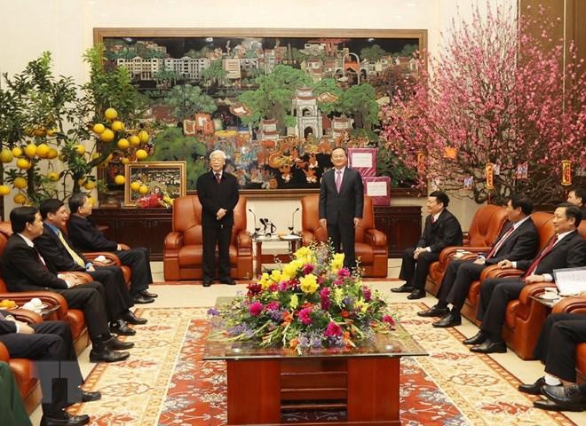 Le secrétaire général du PCV adresse ses vœux du Têt à Hung Yen