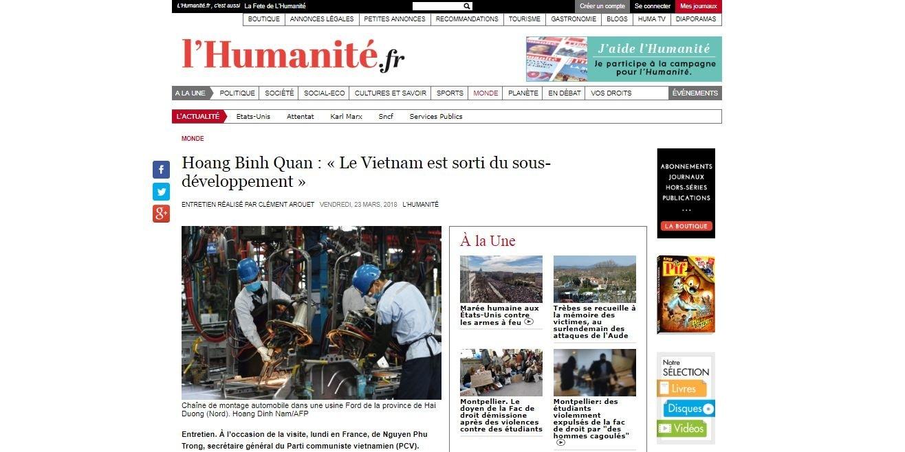 La presse française salue des performances de développement du Vietnam