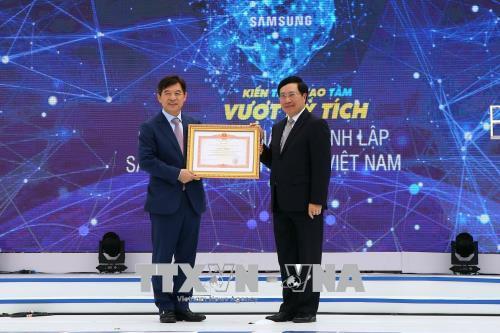 Pham Binh Minh au 10e anniversaire de Samsung Electronics Vietnam