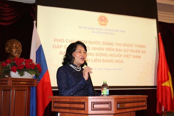 La vice-présidente Dang Thi Ngoc Thinh  rencontre la diaspora vietnamienne de Russie