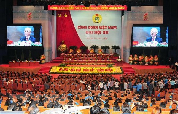 Grande séance du 12e congrès syndical national du Vietnam