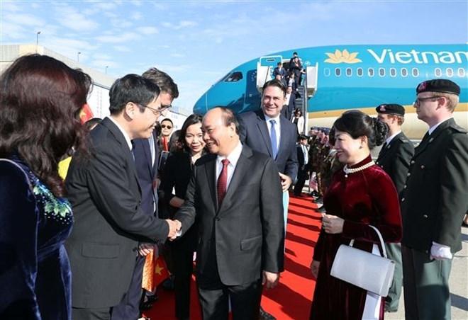 Le Premier ministre Nguyen Xuan Phuc arrive à Bruxelles
