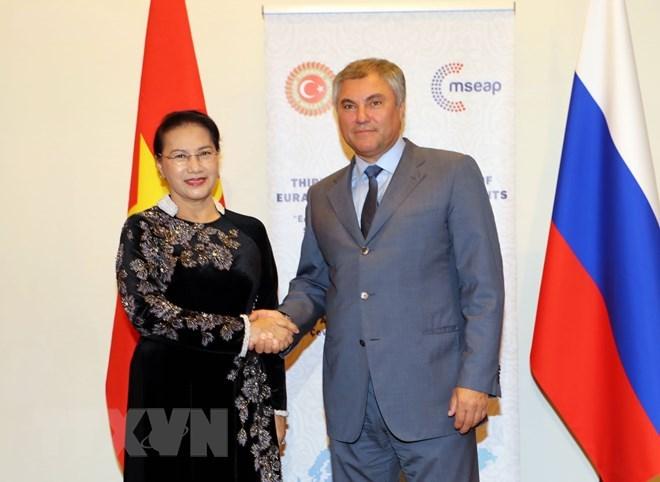 La présidente de l'AN rencontre le président de la Douma d'Etat de Russie