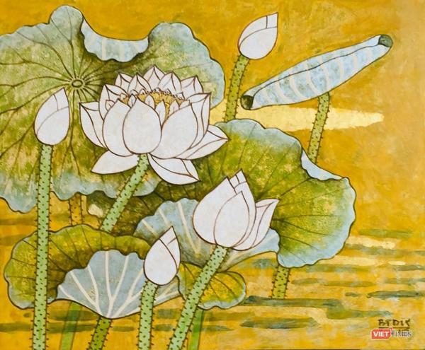 Exposition de peintures contemporaines sur le lotus