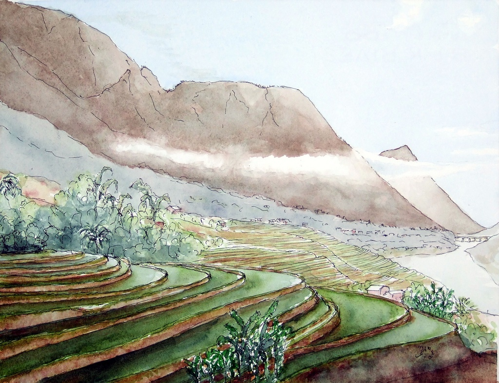 Des paysages du Vietnam vus par un aquarelliste français