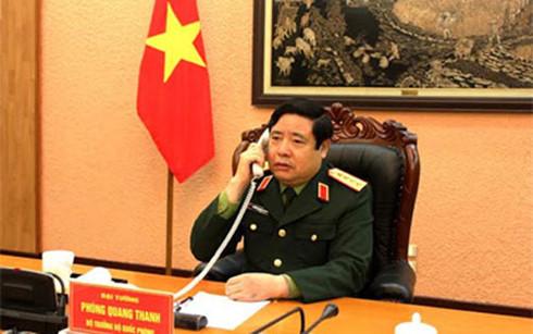 越中两国国防部长互通电话