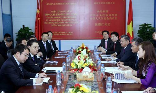 中共中央政治局常委、中国全国人民代表大会常务委员会委员长张德江参观越中友谊宫工程