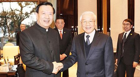 越共中央总书记阮富仲会见中国浙江省领导人
