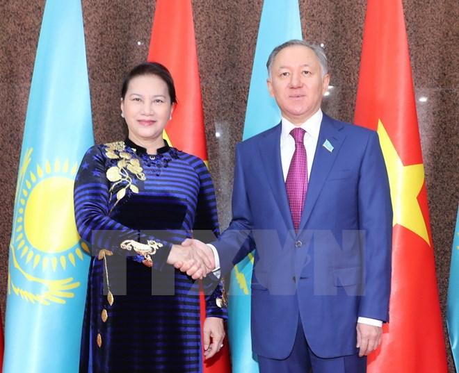 越南国会主席阮氏金银与哈萨克斯坦马吉利斯议长努尔兰•尼格马图林举行会谈
