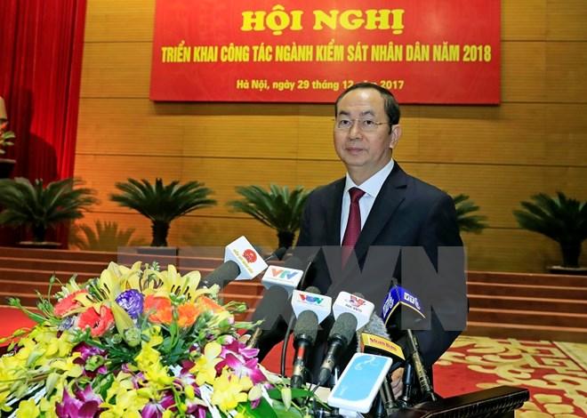 越南国家主席陈大光出席人民检察部门2018年工作部署会议