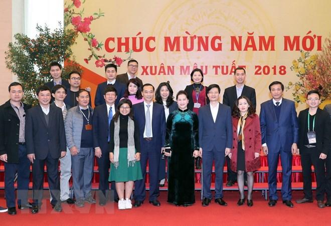 国会主席阮氏金银向国会领导和国会办公厅工作人员致以新年祝贺