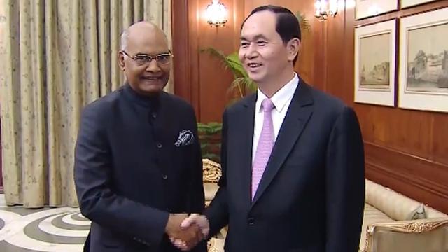 越南国家主席陈大光会见印度总统拉姆•纳特•科温德