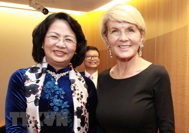 国家副主席邓氏玉盛会见澳大利亚外长庇雪