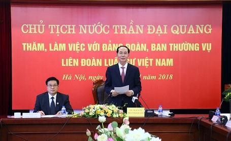 国家主席陈大光与越南律师联合会举行工作会议
