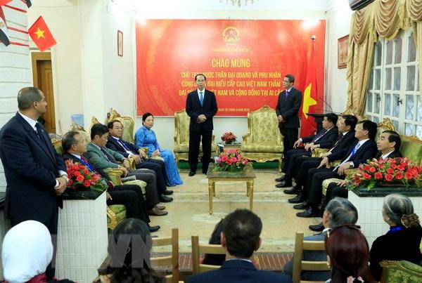越南国家主席陈大光造访越南驻埃及大使馆