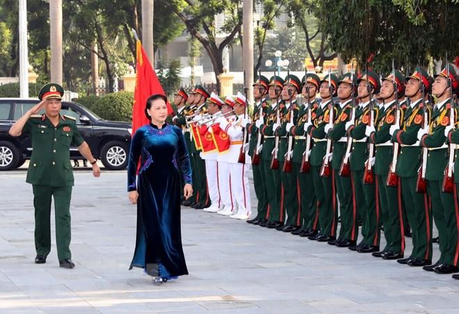 越南国会主席阮氏金银出席国防学院新学年开学典礼