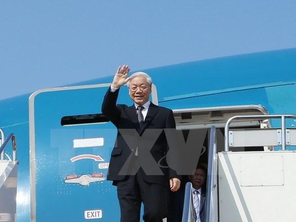 越共中央总书记阮富仲启程对俄罗斯进行正式访问
