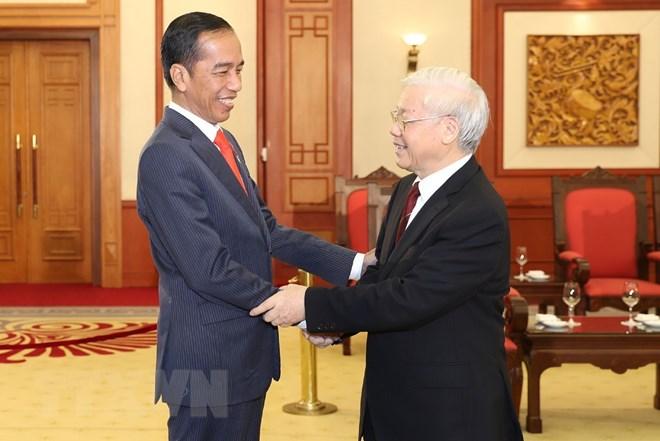 越南党和国家领导人会见印尼总统佐科•维多多