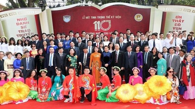 越南国会主席阮氏金银出席朱文安学校110周年校庆庆典
