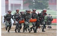 越中两军开展灾害疾病救援联合演练活动